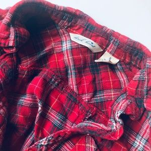Red Plaid Button Up with 3/4 Sleeves